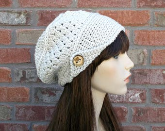 Slouchy Beanie, Off White, Street Style, Slouchy Hat, Winter Hat, Hat with Buttons, Cute Hats, Crochet Hat, Knit Hat, Street Wear
