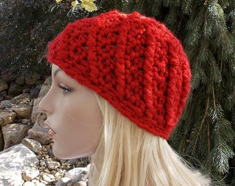 Red Beanie Hat, Valentines Day Gift for Teenager, Crochet Chunky Winter Hat, Cute Hat for Teen Girl or Women, Chunky Beanie, Red Hat