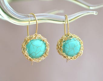 Tropical earrings, turquoise crochet earrings, blue and gold earrings, turquoise jewelry