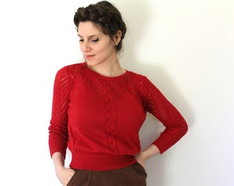 Vintage Red Sweater / 1970s Sweater / 70s Sweater / 1970s Pointelle Knit Red Sweater