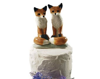 Red Fox Wedding cake topper / ceramic fox cake topper / Woodland wedding cake topper / bridal shower cake topper gift by Anita Reay souvenir