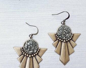 Boho Chic Jewelry, Tribal Earrings, Brass Pyrite Earrings, Sparkly Earrings, Druzy Style Dangle Earrings