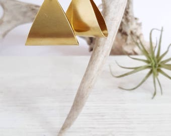 Big Earrings Brass Statement Earrings Triangle Earrings Geometric Earrings Minimalist Earrings Modern Jewelry Minimalist Jewelry Boho