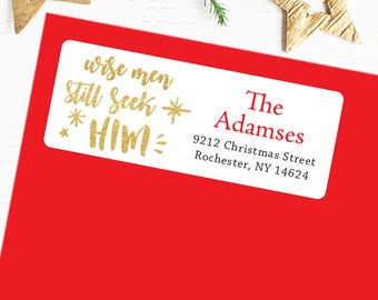 Christmas Address Labels - Wise Men Still Seek Him - Sheet of 30