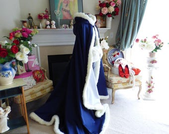 Victorian Bridal cape 52/67 inch Navy Blue / IVORY Satin Reversible Wedding Cloak Hooded with Fur Trim  Handmade in USA
