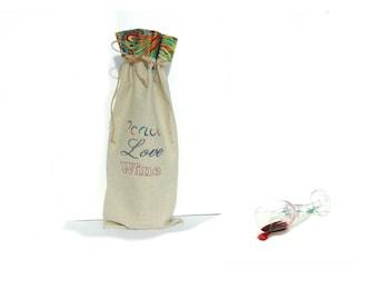 Wine bottle bag, Peace, love, wine carry bag, wine tote, linen gift bag, embroidered gift bag for wine bottle, wine bag holder