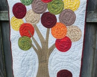 Fall Tree Wall Quilt Repurposed Fabric