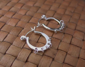 Sterling Silver Earring, 5 Closed Loops, Latch Back Closure, 16mm, 1 Pair