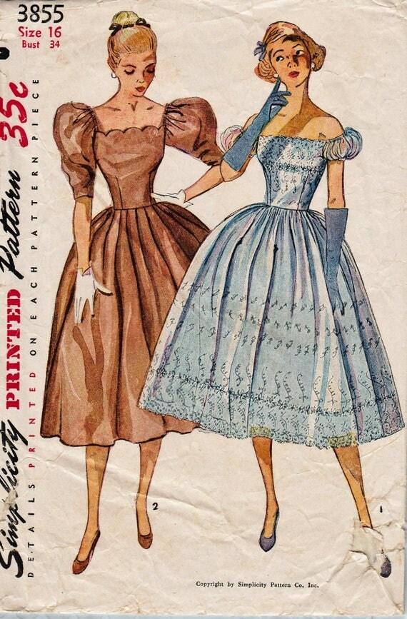 Simplicity 3855 / Vintage 50er Jahre Schnittmuster / Off