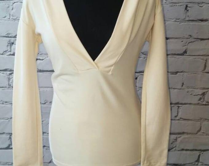 Ivory Organic Hooded V neck Sweatshirt