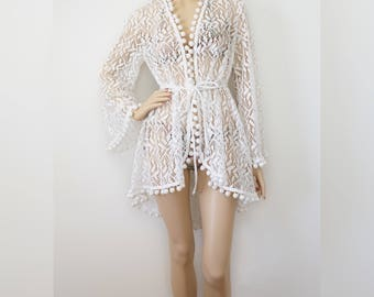 White Swimsuit Coverup with Pom-Poms