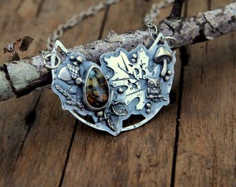 Bridge Pendant - Seven Dwarfs Variscite Leaves Sterling Silver Statement Necklace Nature Jewelry Crescent Moon Acorns Wolf Totem Jewelry