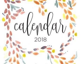 2018 Watercolor Calendar