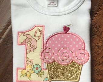 Pink and Gold First Birthday - Pink and Gold Girls First Birthday Outfit - Cupcake Birthday Shirt