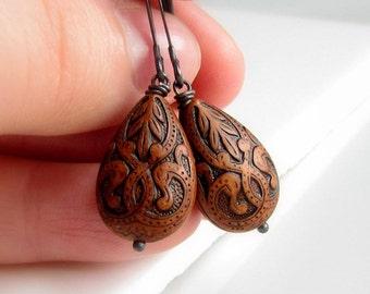 Dark Cocoa Brown Earrings, Vintage Style,  Dark Brown Teardrop Earrings, Coffee Brown Earrings, Oxidized Sterling Silver, Dangle Earrings