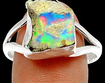 Opal Ring Rough Raw Solid Opal Nugget Ring in Natural Matrix in Solid Sterling Split Shank Ring Size 10