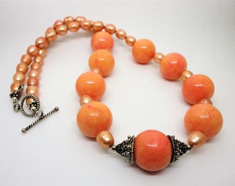 Peach Jasper Necklace Tropical Delight Large Melon Color 16mm Round Peach Jasper Beads with Peach Freshwater Pearls and Sterling