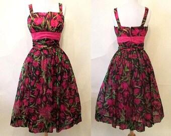 Lovely 1950's Silk Chiffon Rose Print Cocktail Party Dress Shelf Bust Full Skirt Vintage Prom Dress VLV  Size Small