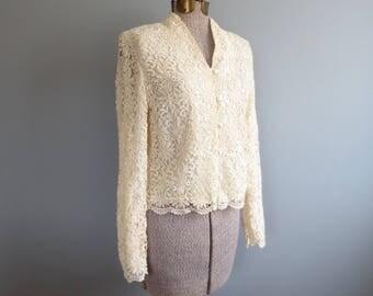 vintage lace blouse * romantic blouse * vintage 90s lace jacket * s / m