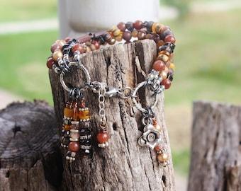 4-Strands Smoky Quartz & Citrine Bracelet, Handmade Fall Colors Boho Bracelet, Extreme Dangles, Handcrafted Artisan Sterling Silver Bracelet