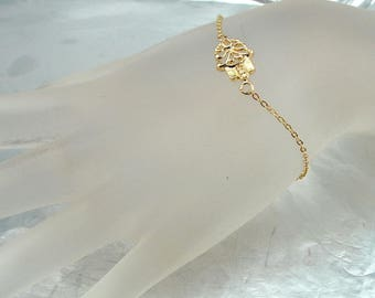 Dainty  Hamsa Bracelet, Gold Hamsa, Delicate Hamsa Bracelet, Tiny Gold Bracelet, 14k Gold Filled Hamsa, Kabalah, For Her, Bridesmaid Gifts