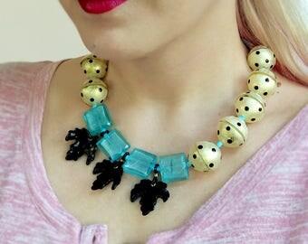 Leaf Statement Necklace, Black Blue Glass Resin Necklace, Lampwork Necklace