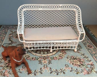 Miniature Couch, Bar Harbor Style Couch With Cushion,  White Metal Couch, Dollhouse Miniature Furniture, 1:12 Scale, Mini Couch