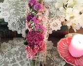 White Sage Rose Larkspur Wild Flowers Smudging Bundle, Smudging Wand, Floral Smduging Bundle
