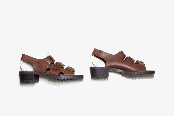 Vintage Leather Sandals Size 7.5 / Brown Leather Sandals / Strappy Sandals / Slingback Sandals