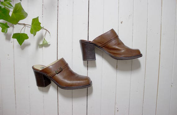 Vintage Leather Mules 7.5 / Chunky Leather Mules / Brown Leather Mules / Brown Leather Clogs / Leather Slip Ons