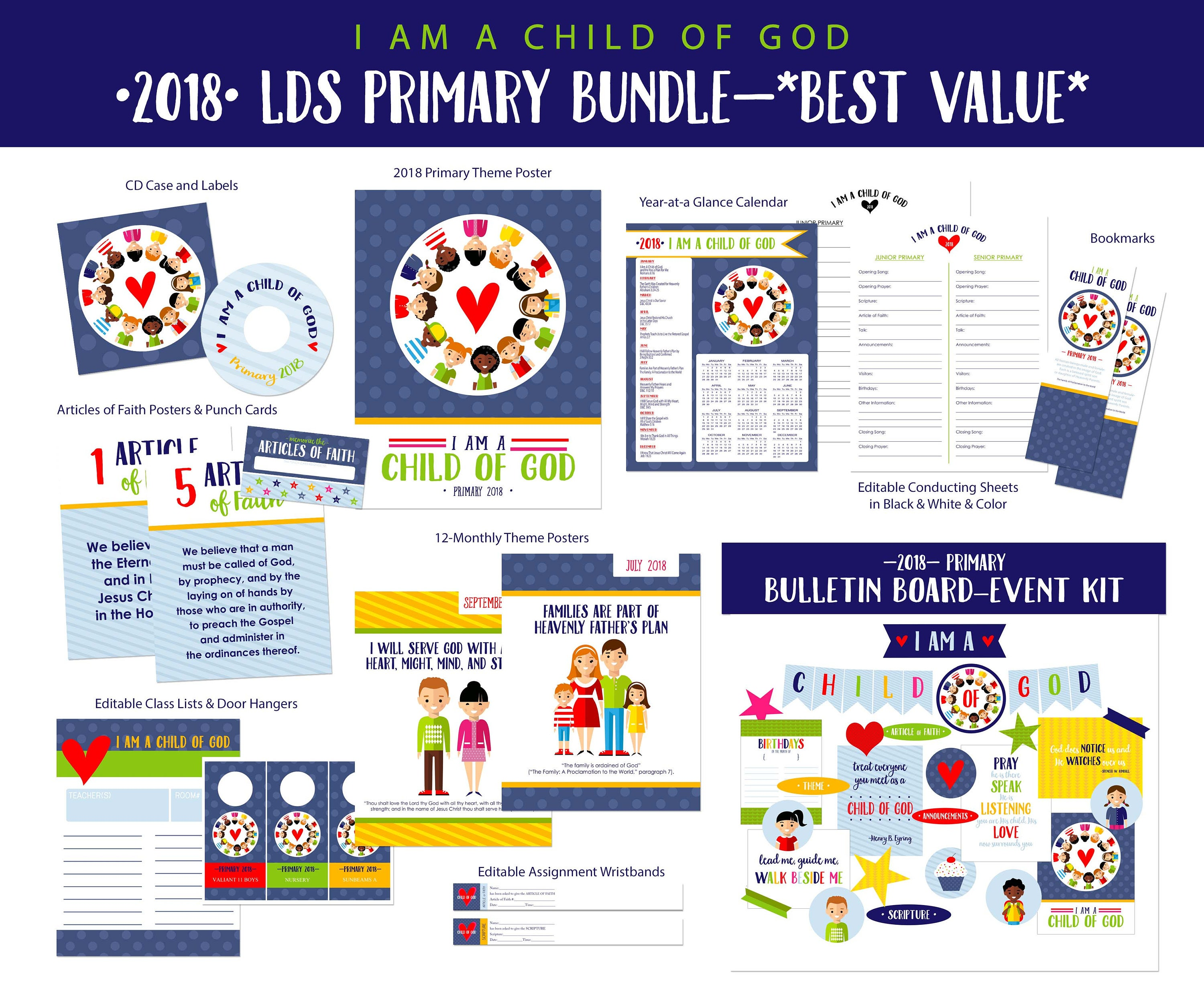 2018 lds primary theme value bundle i am a child of