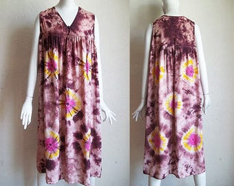 Vintage 90s Hippie Grunge Tie Dye Cotton Tent Dress M B42