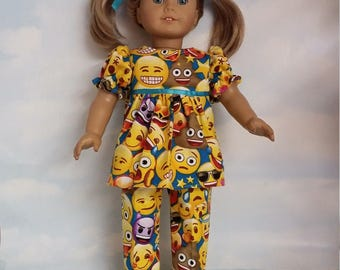 18 inch doll clothes - Emoji Pajamas handmade to fit the American Girl Doll - FREE SHIPPING