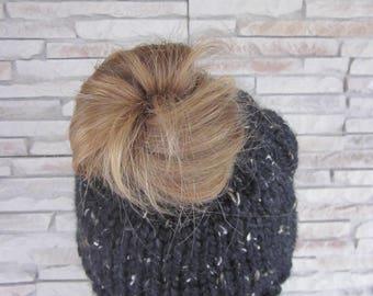 Pony tail hat- Messy Bun Hat-Knit Pony tail hat beanie- Obsidian-Black Hat