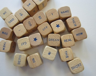 27 vintage wooden dice - WORD dice and STARS -  game pieces - natural with blue writing