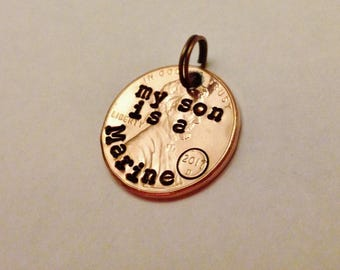 Marine Keychain Charm, My Son Is A Marine, Military Gift, Lucky Penny Deployment Gift for Mom or Dad, Hand Stamped Penny, USMC, Marine Corps