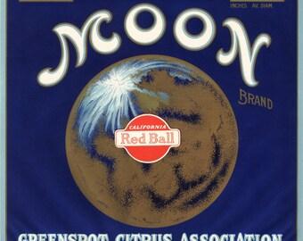 Original vintage citrus crate label 1930s Moon Art Deco Bronzed Astronomy Lunar San Bernardino California