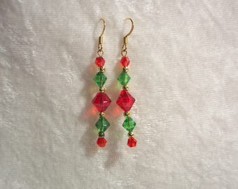 Red Green Earrings, Christmas Earrings, Holiday Earrings, Red Earrings, Glass Crystal Earrings, Gold Accent Earrings, Clip ons Available