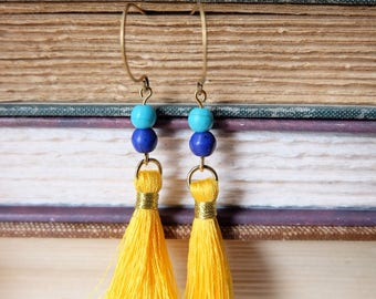 Electric Yellow Tassel Earrings