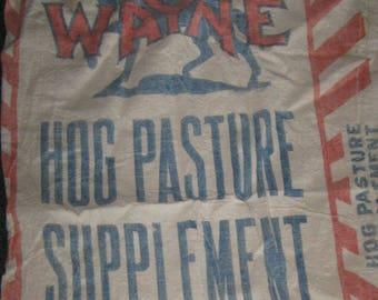 Vintage Wayne Red Blue Hog Pig Feed Grain Sack Bag Feedsack Repurposing