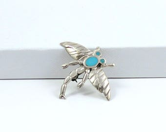Vintage Sterling Silver Bug Pin Flying Bug Dragonfly Sterling Silver Turquoise Blue Petite n Sweet Little Bug Pin Southwest Silver Pin