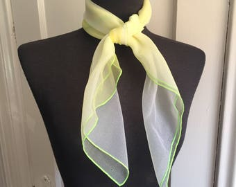 Vintage Chiffon Scarf, 80's Sheer Scarf, Neon Green, Yellow and White Ombre, Double Sheer 50's Rockabilly Style, Headscarf, Hair Wrap