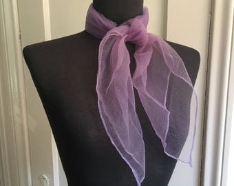 Vintage Sheer Nylon Scarf, Lavender Chiffon Scarf, Purple Scarf, 50's 60's Style, Rockabilly, Pin Up, Head Scarf, Neck Scarf, Hair Scarf