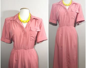 Coral Shirt Dress by Darian // Pink Classic Vintage Shirt Dress