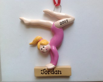 Gymnastics Personalized Christmas Sports Ornament Blonde Girl Gymnastics Coach, Family, Friends, Teacher, Co-Workers, Gift Tag