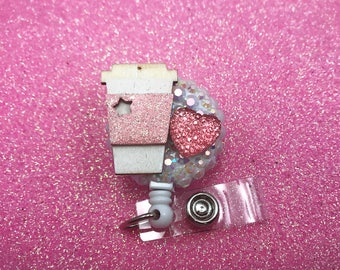 Coffee Love Pink Heart Bling Glitter Caffeine Badge Reel ID Holder Nurse Rn Cna Technician Md Medical assistant Sparkly Cute Rhinestone Nicu
