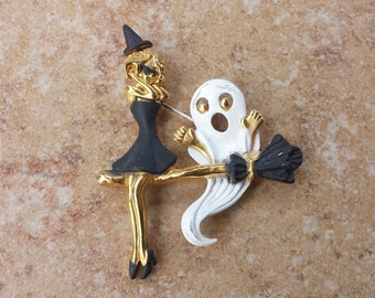 Vintage Gold Tone Painted Halloween Pin, Girl and Ghost Riding Broom, Witch, Ghost, Broom Holiday Brooch Pin, Signed AJC