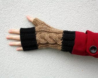 Cable Fingerless Gloves, Hand Knitted Long Gloves, Color Block Gloves Taupe and Black, Mens Gloves, Womens Winter Fashion, Gift Teenager
