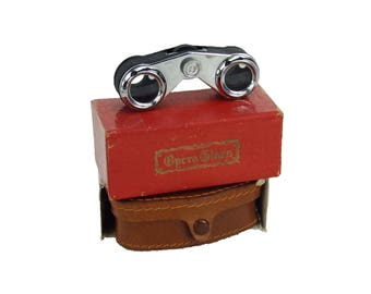 Vintage Pair of Classic Opera Glasses with Leather Case and Original Box Marked Classic Glass
