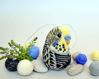 Budgerigar / gray and yellow Budgie - needle felted wool ornament / home decoration